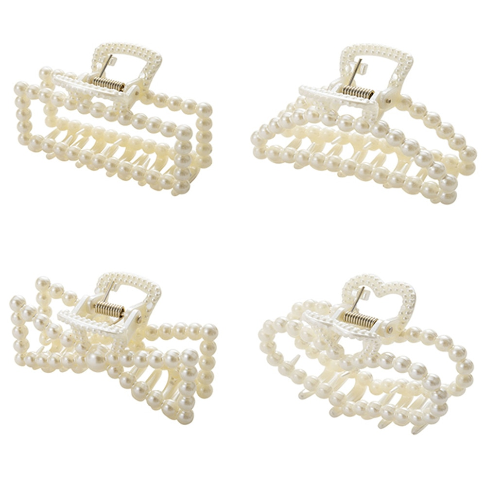 New Fashion Pearls Acrylic Hair Claw Clips Big Size Makeup Hair Styling Barrettes for Women Hair Acc