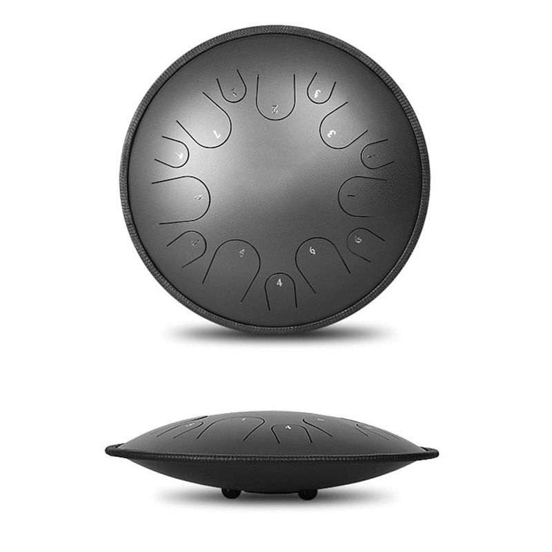 Professional New Design UFO Saucer 14 inch Steel Tongue Drum 14 key Tone Hand Pan Drum Tank Drumsticks Percussion Instruments