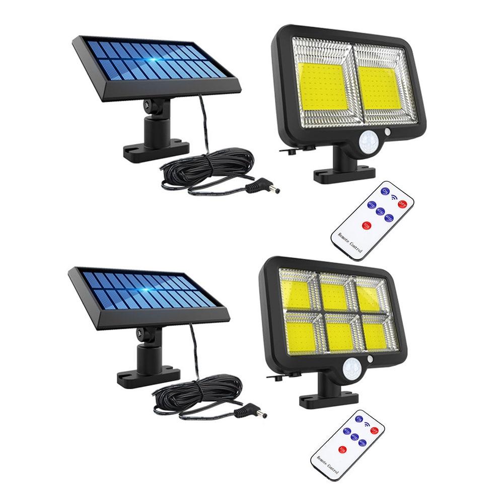 Luz Solar COB 120LED, lámpara de pared con Sensor de movimiento impermeable, lámpara de jardín exterior, lámpara de seguridad de camino de emergencia, luz decorativa