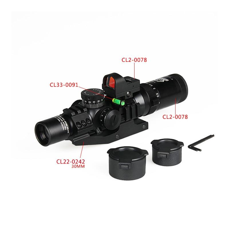 Canis Latrans 1-4x24 IRF Rifle Scope + 2MOA 1X Mini Red Dot Sight+Riflescope Bubble Level+30MM Double Scope Mount HK1-0292