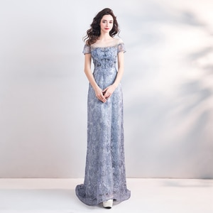 Evening Dress Illusion Luxury O-Neck Tulle Embroidery Floor-Length Crystal  A-Line Short Vintage Lace Women Formal Gown TS465