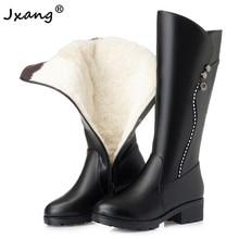 JXANG 2020 laine femmes bottes de neige chaussures en peluche chaud en cuir véritable bottes hautes fourrure plate-forme chaude pour les femmes bottes dhiver dame noir