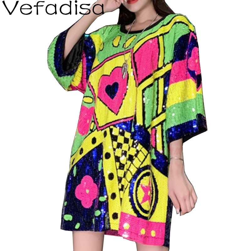 Vefadisa أحدث صيف كامل الترتر المرأة تي شيرت 2021 الملونة هندسية طباعة الإناث تي شيرت الشارع الشهير المرأة QYF5451
