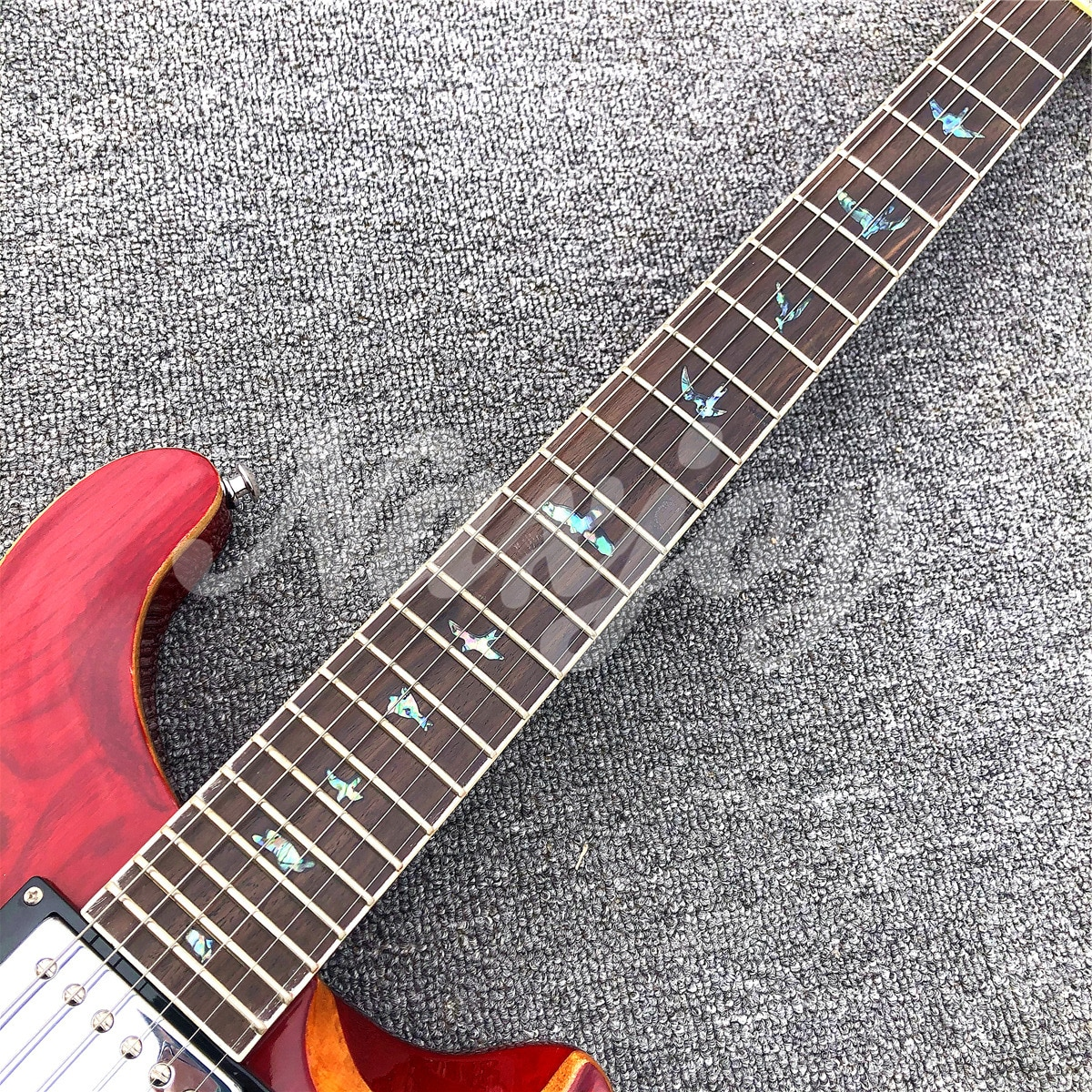 Glossy Red Solid Mahogany Electric Guitar,Abalone Rosewood Fingerboard 6 Strings Guitar,Real Photos,Free Shipping enlarge