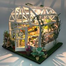 Kit de meubles miniatures en bois avec Led   Puzzle en hauteur, maison de poupée romantique en bricolage, maison verte douce et légère, cadeaux danniversaire pour enfant