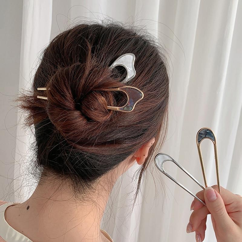aliexpress.com - Girl Hair Tools Bun Maker Alloy Metal Conch Shell Hair Sticks Minimalist Hairpin for Women Japan Headwear Hair Accessories