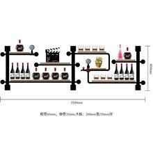 Organisateur de bouteille darmoire de TV dart de décoration de maison pour laffichage de vin de conception rétro de stockage de casier à vin fait de tuyaux et de panneaux de fer