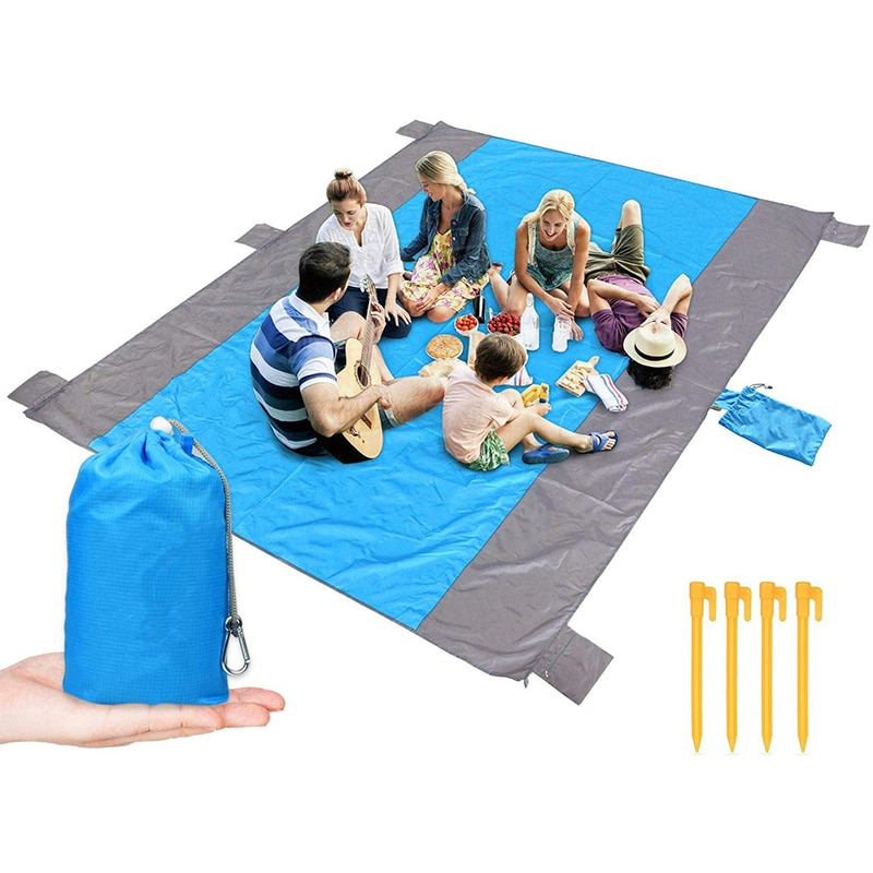 AliExpress - Sandfree Beach Blanket Large Sandless Beach Mat for 4-7 Adults Waterproof Pocket Picnic Blanket with 6 Stakes Outdoor Blanket