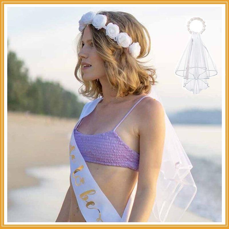 1pc rosa flor coroa véu para jardim praia casamento nupcial do chuveiro noiva para ser noivado despedida de solteira galinha festa favor decoração