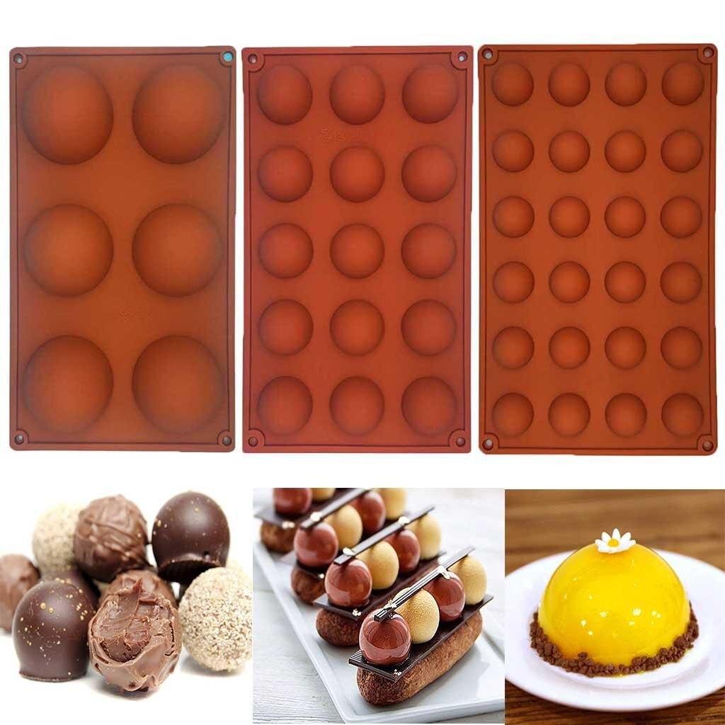 Molde de tarta de Chocolate, pastelería, 3 piezas, Media esfera, plantilla, pudín, pan, dulces para hornear, moldes para decoración de pasteles