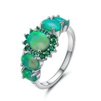 trendy silver plated stackable oval shape green opalite opal finger ring for elegant women jewelry