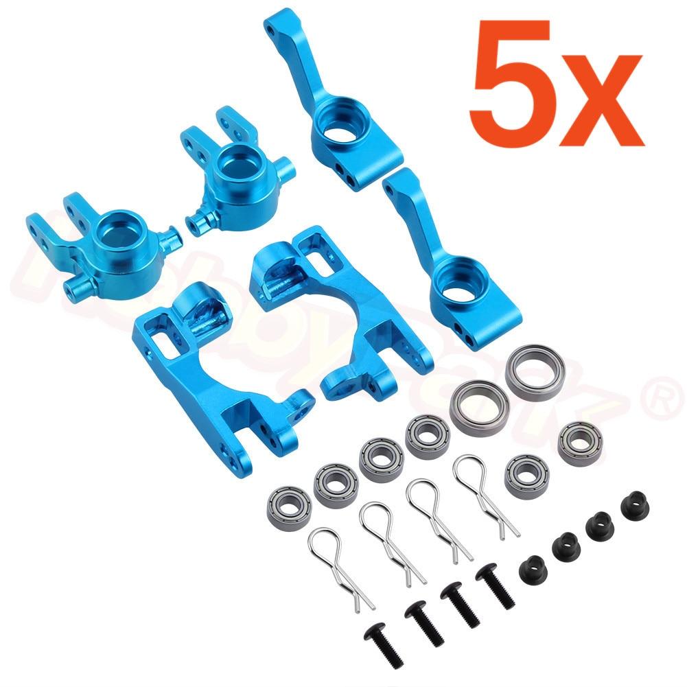 5Set Aluminum Steering Knuckles Blocks Parts # 6837X C-Hubs 6832X Axle Carriers Caster Blocks For 1/10 Traxxas Slash 4x4 Upgrade