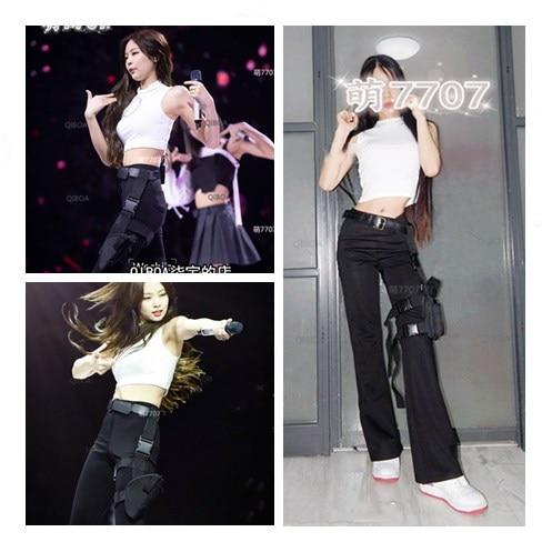 Kpop-ملابس الشارع النسائية الكورية ، بلوزة بدون أكمام مرنة ، بناطيل سوداء فضفاضة غير رسمية ، طقم من قطعتين ، أبيض ، 2021
