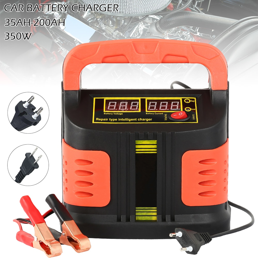 Полностью автоматическое автомобильное зарядное устройство 350W 12 V/24 V 35Ah-200Ah 14A с регулировкой lcd быстрой зарядки для мотоцикла