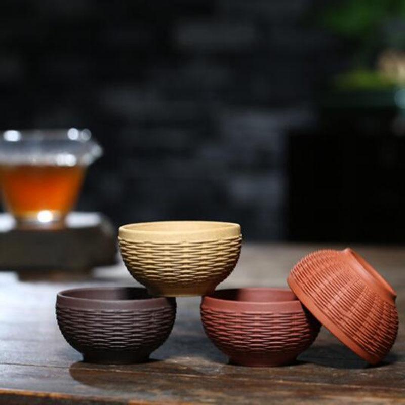 Xícara de Chá Forma de Malha de Bambu fu de Cerâmica Roxo Argila Conjunto Kung Artesanal Artesanato Chinês Beber Chá Ferramenta 4 Pçs – Set