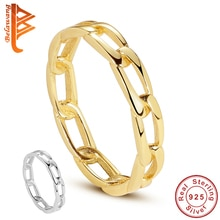 BELAWANG 100% 925 Sterling Silver Pave Link Ring Simple Style Chain Ring With 18k Gold Plated Ring F