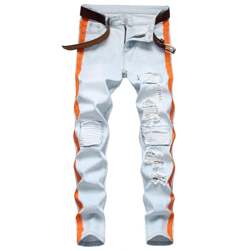 джинсы штаны мужские брюки мужские Новинка 2021, светлые мужские джинсы, подходящие по цвету, Модные индивидуальные джинсы с начесом и дыркам...