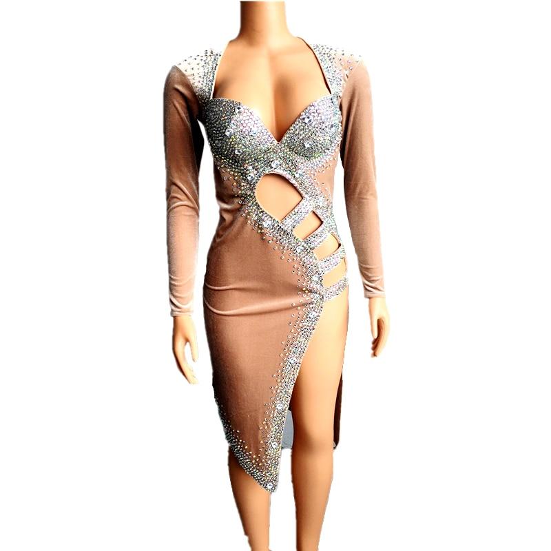 الفضة الأحجار طويلة الأكمام عارية اللاتينية فستان رقص مرحلة الموضة أزياء مسرحية سباركلي أحجار الراين فساتين جوفاء تمتد