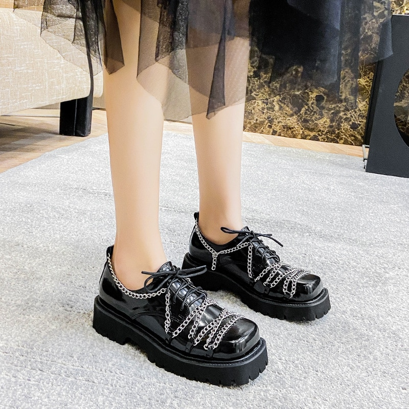 2021 Spring Women's Flat Shoes Small Leather College Style Uniform Loafers Lace-up Chain Square Toe Flats Platform Single Shoes