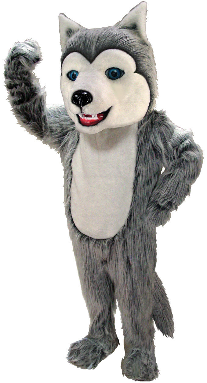 Halloween adulto Cosplay gris Husky perro Lobo mascota traje partido traje de espuma mascota carnaval Navidad Pascua adulto