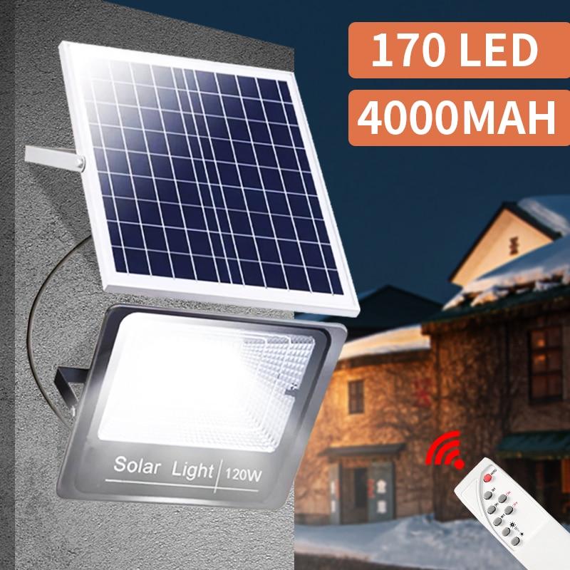 Solar Light Outdoor 44/170 Remote Control Waterproof For Garden Path Street Landscape Spotlight Wall Solar Powered Flood Lamp