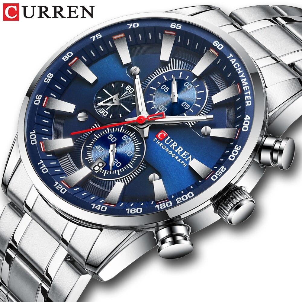 Relógio de Quartzo Homem de Negócios Relógios de Pulso Relógio de Pulso à Prova Curren Luxo Prata Cinta Masculino Dwaterproof Água Relógio 2021 Aço