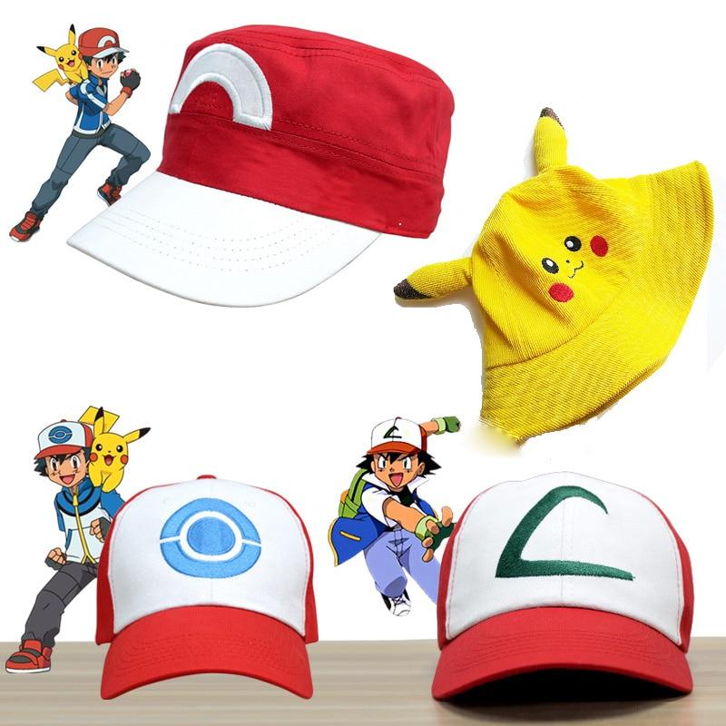 Kids Party Pokemoner Cosplay Baseball Cap Cartoon Pikachu Ash Ketchum Celebrity Inspired Hat Creative Birthday Gift for Children