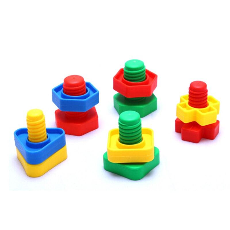 1/10/20 Set Schroef Bouwstenen Montessori 3D Puzzel Game Schaal Modellen Onderwijs Plastic Moer Vorm Speelgoed Voor Baby