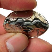 Nieuwe Hot Twee Fold Bite Coin Dollar Magic Close-up Straat Goocheltruc Prop Bite Coin En Bite Valuta herstellen Half Illusion