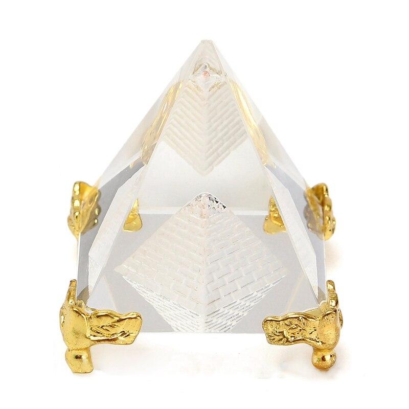 Hermosa moda Egipto cristal claro ornamento de pirámide decoración del hogar suministros de oficina decoración de sala de estar