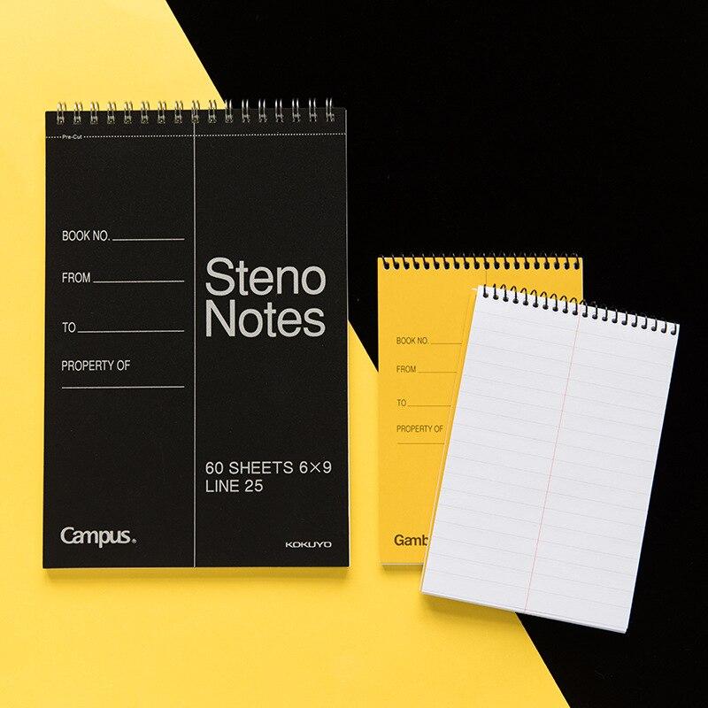 Cuaderno de tapa blanda KOYUYO Gambol Steno Note Classic amarillo negro con pre-cut Office Memo bobina de bloc de notas material escolar F902