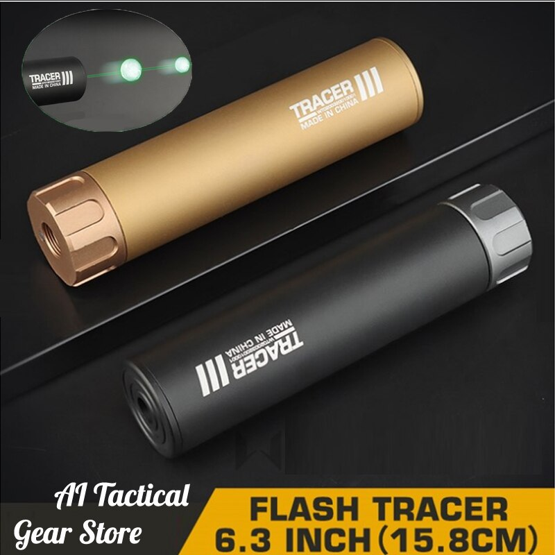 Paintball Airsoft Tracer Lighter Fluorescence Effect Tracer 14mm with Silencer 6.3in Excited Auto Tracer Shooting Accessories