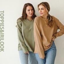 Toppies femme à manches longues T-shirts col rond hauts T-shirts couleur unie coton vêtements 2021 printemps mode vêtements
