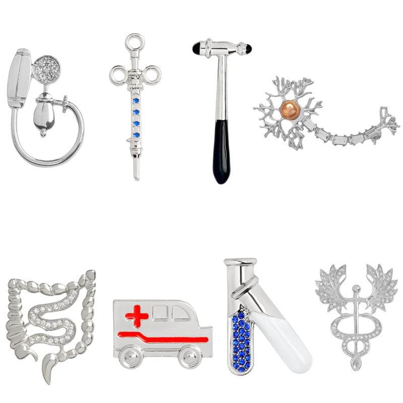 Metal Medical Enamel Pin Gifts for Doctor Nurse Badge Hammer Syringe Ambulance Blood Pressure Meter Neuron Caduceus Brooch