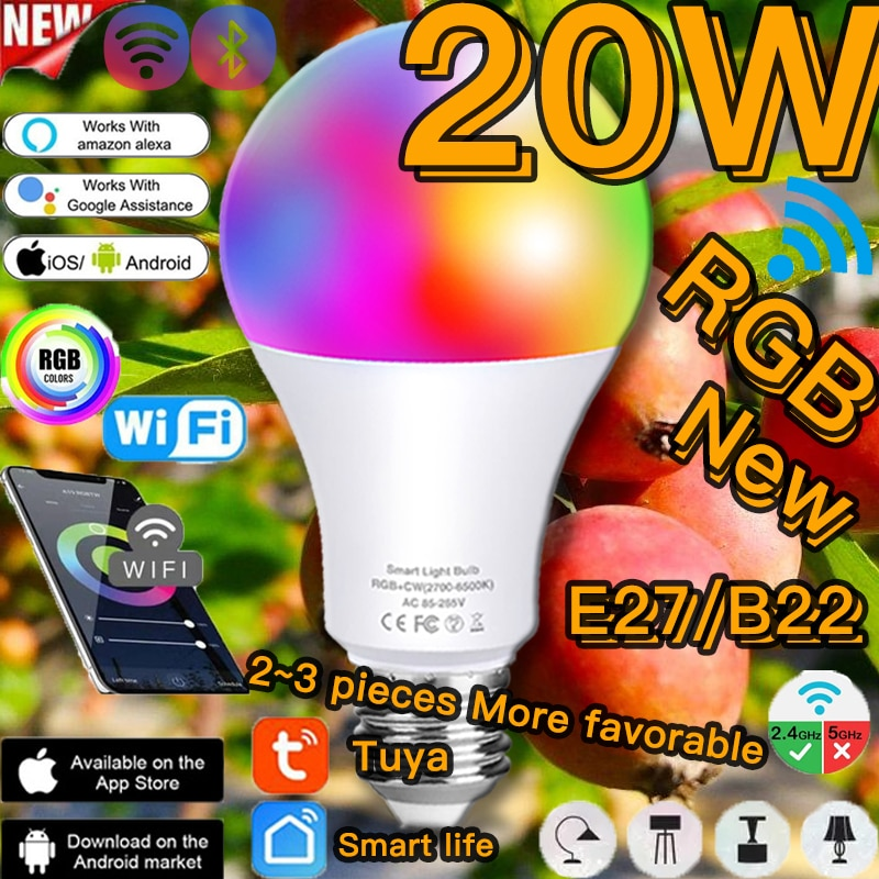 LED 20W Smart Bulb Lamp RGB E27 B22 Bluetooth Wifi or IR Remote Control Alexa RGBW Light Bulb Home Lighting Smart Light Tuya App original yeelight led ceiling light lamp ip60 dustproof wifi and bluetooth dual wireless smart mi home app remote control