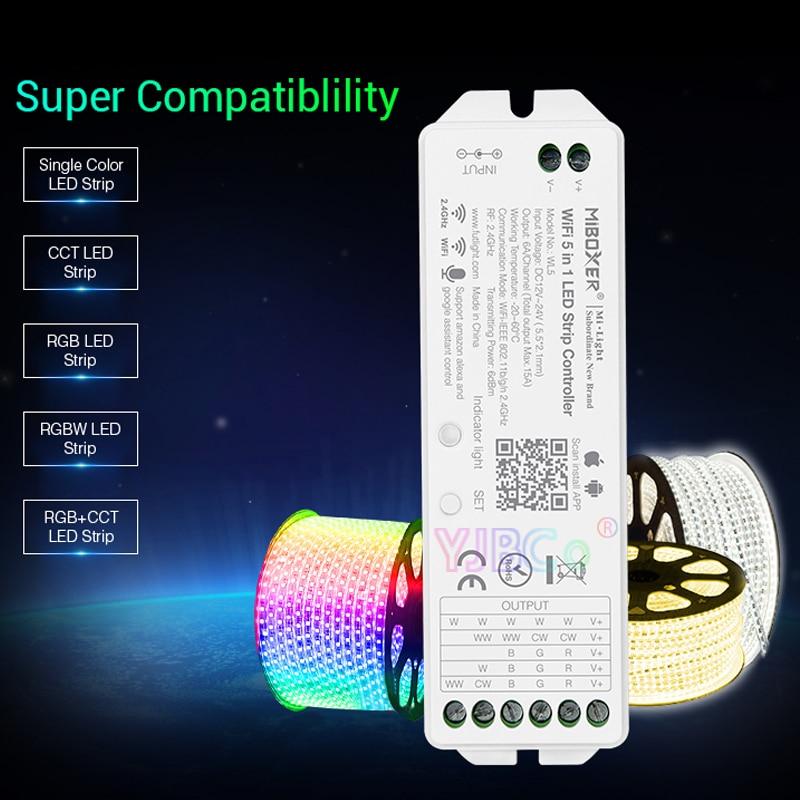 Miboxer WL5-وحدة تحكم WiFi LED أحادية اللون ، 2.4G 15A 5 في 1 ، CCT ، RGB ، RGBW ، RGB CCT ، دعم صوت Amazon Alexa