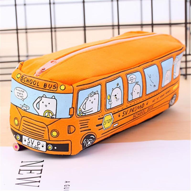 Creative Cartoon School Bus Pencil Case Large Capacity Cute Pen Bag Box Stationery Pouch Kids Gift Office School Supplies 04972
