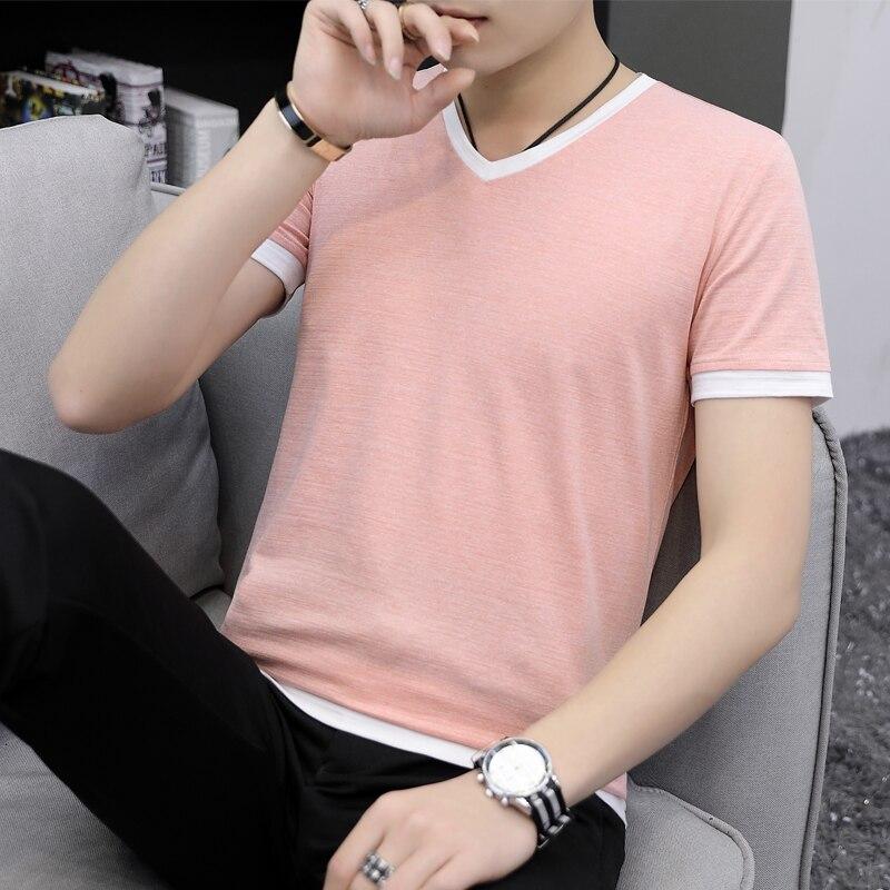 Летняя мужская футболка с коротким рукавом и v-образным вырезом han edition, с рукавом до локтя, летняя мужская одежда