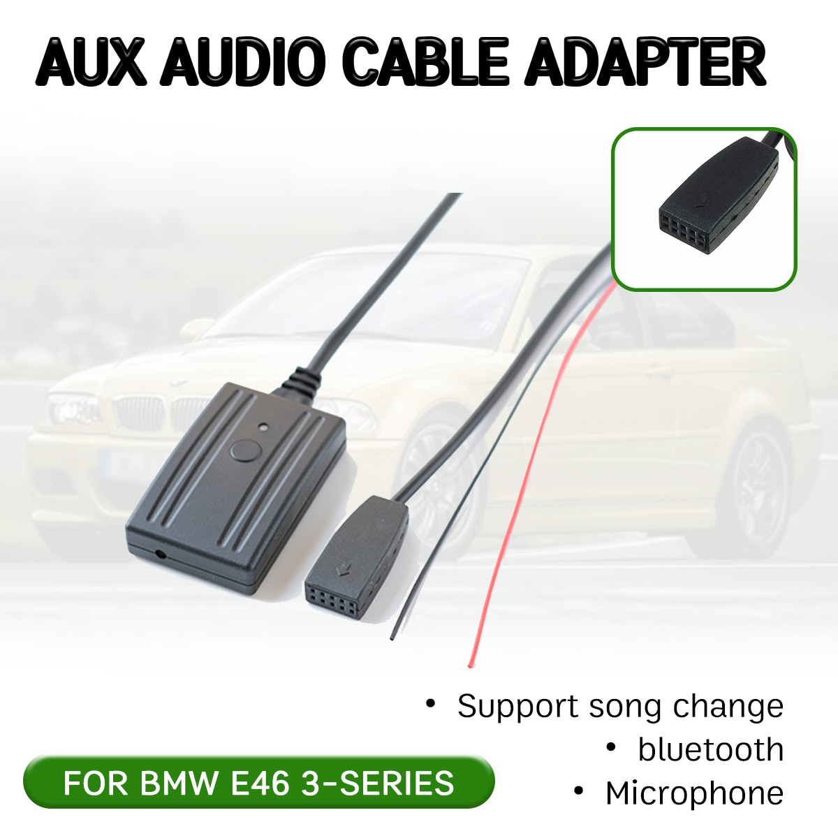 Adaptador de Cable receptor auxiliar bluetooth para BMW E46 2002-2006 módulo auxiliar Hifi manos libres para interfaz de Audio de unidad principal de CD de 10 pines