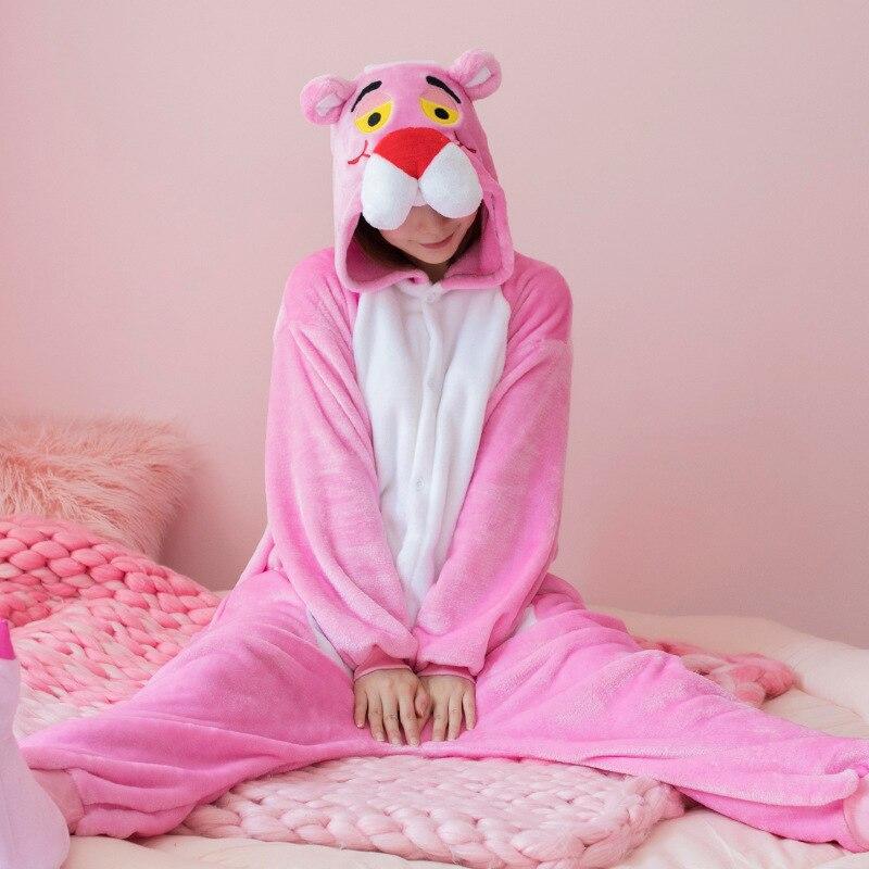 الوردي النمر Kigurumi النساء نيسيس للبالغين الحيوان منامة الكرتون Kigurumi واحدة قطعة البيجامات تأثيري زي لجميع القديسين
