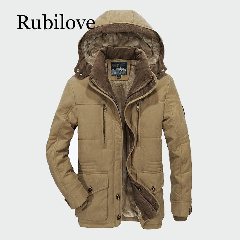 Мужские зимние пальто Rubilove, флисовые теплые толстые куртки, мужская верхняя одежда, ветрозащитное повседневное пальто с капюшоном, мужские ...
