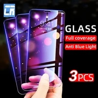 3pcs anti blue light tempered glass for iphone 11 12 pro xs max screen protector on iphone 11 x xr se 2 12 mini full cover glass