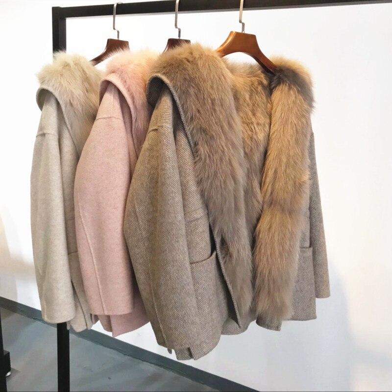 Novedad de 2020, Abrigo de invierno de piel de zorro de lana...