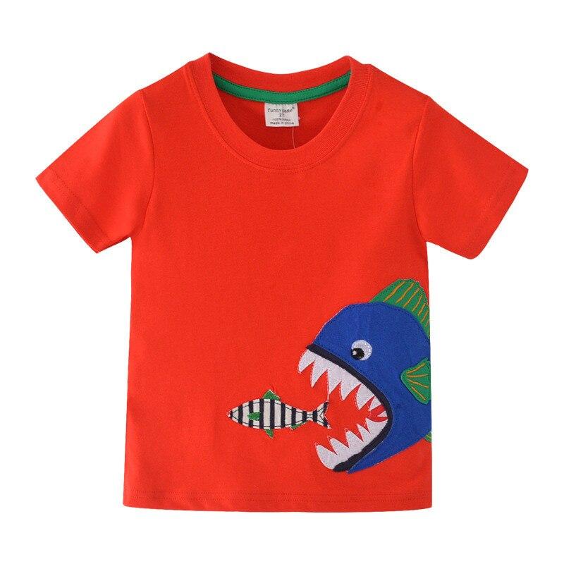 Funnygame animales apliques niños niñas camisetas de verano nueva ropa de algodón para bebés moda niños Camisetas Niño
