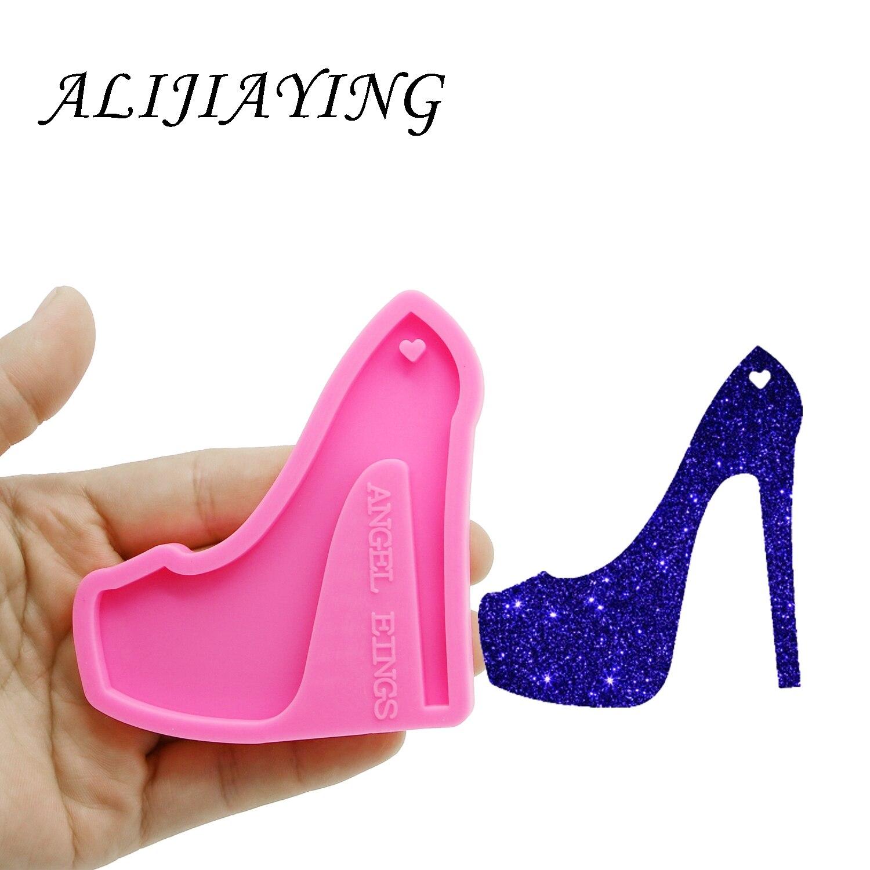 Brillante llavero de zapatos de tacones altos clave anillo decoración molde de silicona para DIY resina epoxi DY0150