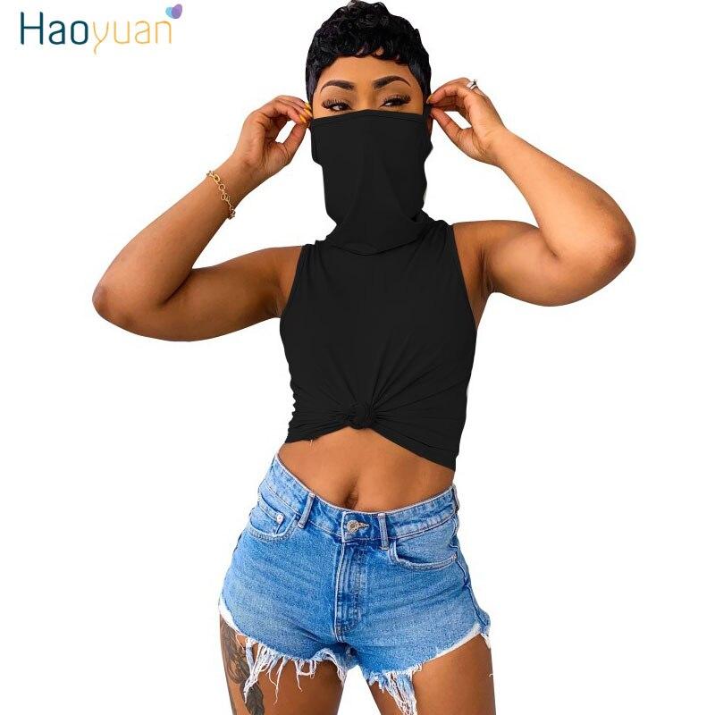 Haoyuan sexy empilhado tartaruga pescoço máscara t camisa plus size verão clother para as mulheres bonito roupas moda sem mangas fino topo