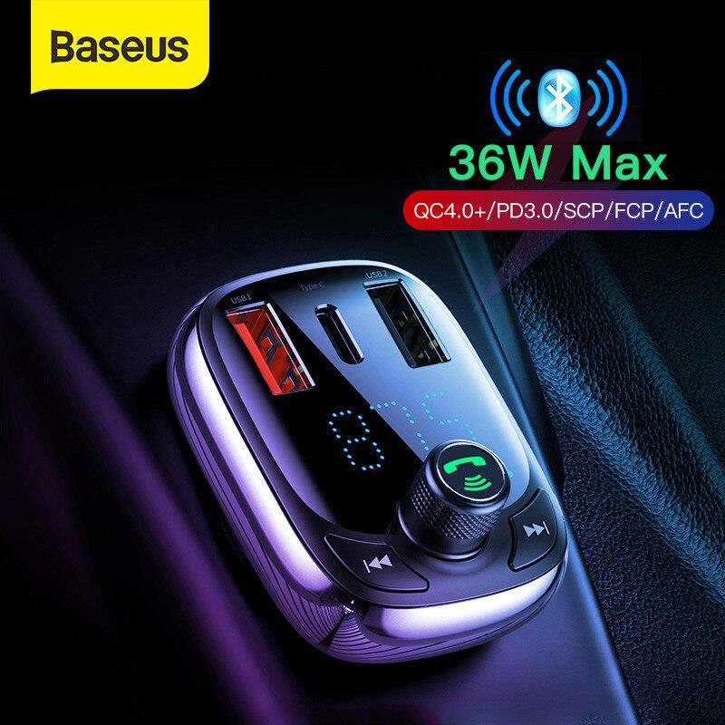 Baseus-Cargador de coche de carga rápida, cargador dual de USB 4.0, transmisor...