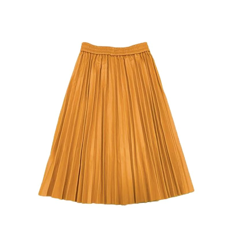 Genuine Leather Sheepskin Long Skirt High Waist Womens Clothes Red Black Green Korean Party Sexy Casual Midi Pleated Skirts