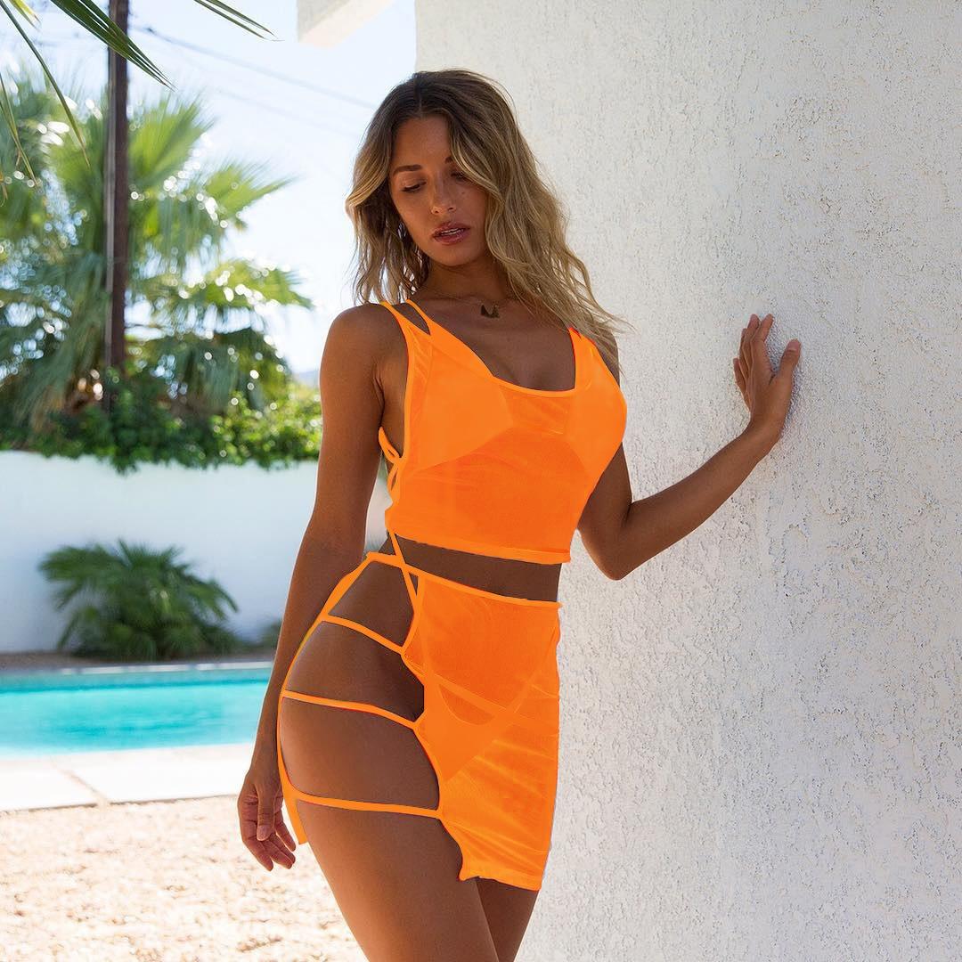 Conjunto de Bikini de 4 piezas con cubierta Push Up Micro traje de baño para mujer traje de baño 2020 Bikini brasileño