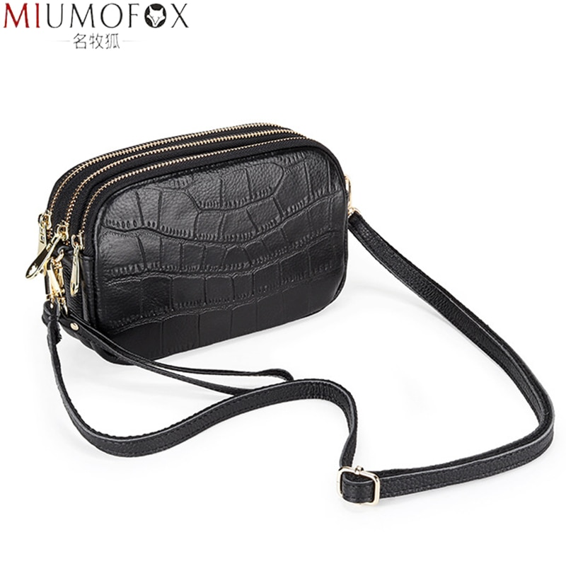 Quality Bag for Women 2021 Fashion Alligator Large Capacity Ladies Leather Messenger Bags Three-layer Zipper Female Shoulder Bag